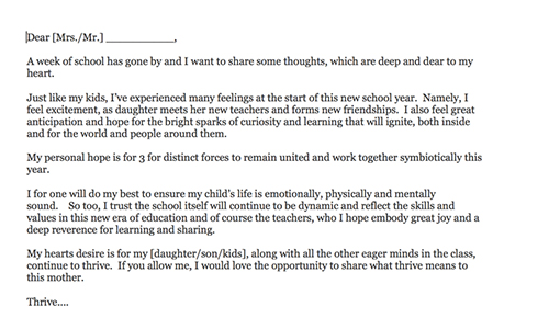 Letter To My Kids Teacher